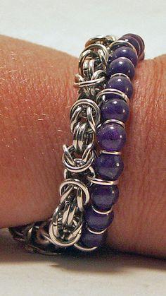 Byzantine and Dark Blue Aventurine Chainmaille Bracelet