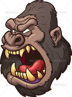 Angry gorilla head. Vector clip art illustration with simple gradients. All in a single layer. EPS10 file included.