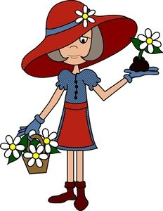 Red Hat Ladies Clip Art | ... Clipart Image: Elderly Lady Wearing Gardening Clothes and a Floppy Hat