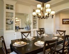love the traditional table/chairs and the white built-ins