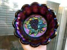OLD IMPERIAL HEAVY GRAPE ELECTRIC PURPLE CARNIVAL GLASS BOWL AMAZING COLOR!