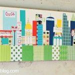 Mod Podge skyline nursery canvas.