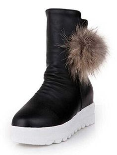 CHFSO Womens Trendy Solid Waterproof Faux Fur Lined Zipper Mid Heel Platform Winter Warm Snow Boots Black 4 BM US *** For more information, visit image link.