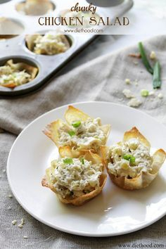 Chunky Chicken Salad Cups Ingredients 12 Wonton Cups 2 cups shredded, cooked chicken breast, cooled 1 cup chopped marinated mushrooms (you can also use canned mushrooms or fresh, sauteed mushrooms) 1 cup chopped baby dill pickles 1 tub (8 oz.) sour cream