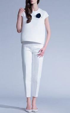 Blossom White Oval Shape Blouse by Esme Vie for Preorder on Moda Operandi