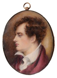 British School  (19th century) Miniature Portrait of Lord Byron, after Richard Westall, profile to the left, wearing a purple cloak over white chemise, unsigned, watercolor on ivory, 2-7/8 x 2-3/8 in.; gold locket frame with intaglio chain decoration,