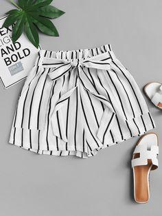 e563dff993 Casual Striped Wide Leg Regular Elastic Waist Mid Waist Black and White  Frill Trim Tie Waist Striped Shorts