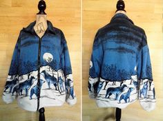 80s Blue Wolf Jacket Hipster Fleece Ironic Kitsch by DalixStudios, £22.00