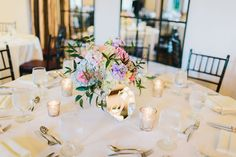 Springy mix of pastel flowers, including blue hydrangea and pink roses | Vintage Spring Wedding at Alden Castle in Brookline, MA | Photographer: Nicole Baas | Flowers: Poppy Floral