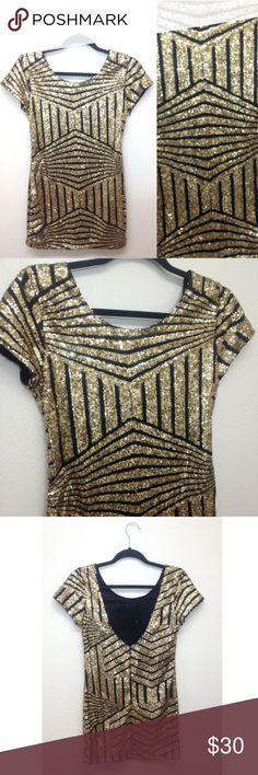 Gold Sequins Mini Dress Gold sequins mini dress. Short dress, best fits petite. Stretchy material. Excellent condition Dresses Mini