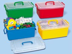 Classroom supplies really stay put—with Lakeshore's Easy-Lock Storage Caddies!