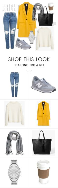 """bright yellow coat"" by renniepie ❤ liked on Polyvore featuring moda, Topshop, New Balance, MANGO, Zara, H&M ve DKNY"