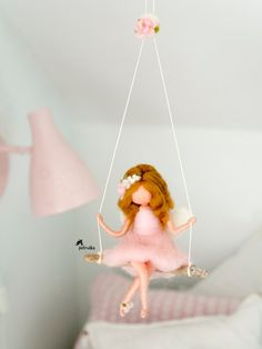 Needle Felted fairy figurine, hanging mobile, Flower Fairy Rose on a driftwood swing, Girls fairy decor Fairy hanging mobile Interior Gift Doll Baby Shower Mobile Wool Dolls, Felt Dolls, Felt Crafts, Diy And Crafts, Crafts For Kids, Diy Cadeau, Fairy Gifts, First Communion Gifts, Felt Mobile