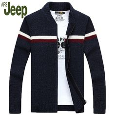 2017 autumn and winter latest AFS JEEP men's thick coat zipper cardigan sweater Battlefield Jeep men's fashion casual sweater 80