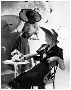 Lisa Fonssagrives and model in organdy dresses, photo by Horst for Vogue, New York,1938