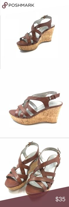 Marc Fisher Gleena Wedge Sandals Brown Size 7.5M Marc Fisher Gleena Wedge Sandals Brown Size 7.5 M  Synthetic Synthetic sole Platform measures approximately 1.25 Style: Platform & Wedges Closure Type: Buckle Heel Height: 3.75 Heel Type: Wedge Material: Synthetic Marc Fisher Shoes Wedges