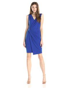 Lark & Ro Women's Faux Wrap Sheath Dress, Cobalt, $70