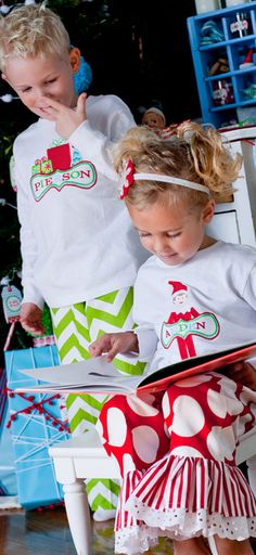 GreatStitch Elf Christmas Pajamas.  kiddos need these for next year's photo shoot