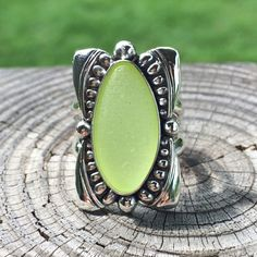 Statement ring in Sterling Silver with Davenport / Santa Cruz Sea Glass! Sz 8 (sizing options available!) by lisajdesigns on Etsy https://www.etsy.com/listing/462567390/statement-ring-in-sterling-silver-with