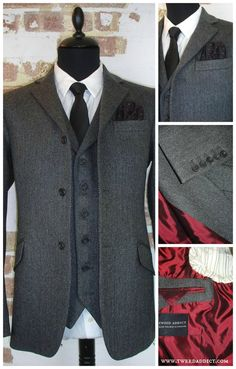 Grey herringbone jacket and waistcoat, from Tweed Addict, London. Lined in deluxe Bemberg Cupro satin. tweed suit wedding, tweed suit men, tweed suit groom.