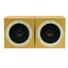 Kraft Cardboard Speakers - Lightweight, collapsible speakers are portable and can be folded away and placed in the included pouch when not in use. Plug them into your personal stereo's headphone jack to enjoy quality sound. Made of cardboard and electronic components | MUJI