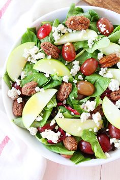 Apple, Grape, and Candied Pecan Salad with Maple-Mustard Dressing Recipe on twopeasandtheirpod.com This salad is great for lunch, dinner, or as a side dish to any meal!