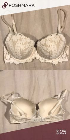 VS Lightly lined Bra So cute! Love the lace, but it is too small. Never worn, just tried on. Lightly lined VS bra 32D Victoria's Secret Intimates & Sleepwear Bras