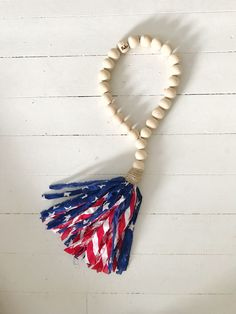 BoHo Beads are jewelry for your home. This patriotic flag tassel is perfect for Fourth of July decor. Rag Garland, Wood Bead Garland, Tassel Garland, Tassels, Diy Tassel, 4th July Crafts, Fourth Of July Decor, July 4th, Bead Crafts