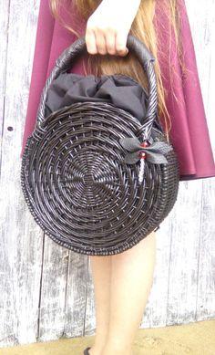 Round wicker basket bag Mother's Day Boho handbag Round basket Wicker Basket with cotton lining Wicker basket Wicker Handmade Bag
