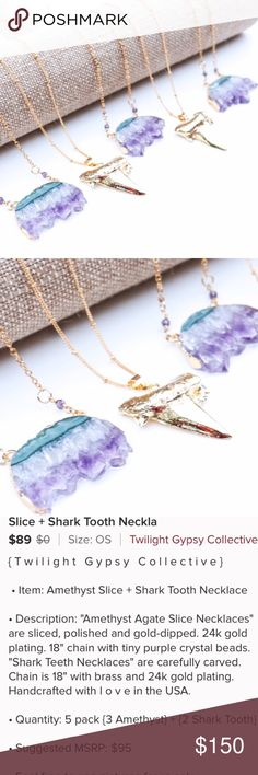 Just in! Shark tooth and amethyst necklaces Just in! Let me know if you have any questions or concerns Twilight Gypsy Collective Jewelry Necklaces