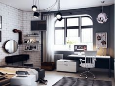Child& design for a boy - photo ideas for arranging a functional children& room Narrow Living Room, Small Space Interior Design, Teenage Room, Loft Style, Modern Room, Modern Playroom, Dream Rooms, Apartment Design, Cozy House