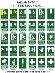 Anuncios para salvamento y vias de seguridad