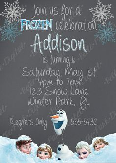 Frozen Chalkboard INSPIRED Birthday invitation with FREE thank you 5x7 or 4x6 size (Frozen INSPIRED) - My Site
