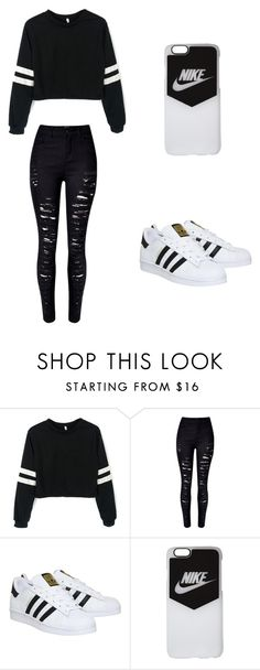 """Casual Black & White"" by basketballislife11 ❤ liked on Polyvore featuring WithChic, adidas and NIKE"