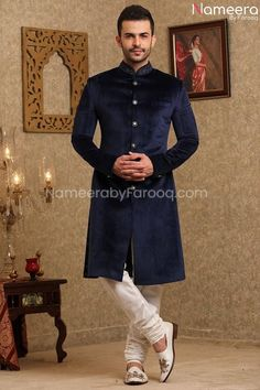 Buy Men,s Sherwani Sherwani-Elegant Navy Blue Sherwani for Wedding Online-Men,s Wear With Dabka, Nagh, Zari, Embroidery, Patch Work In USA, UK, Canada, Australia Visit Now : www.NameerabyFarooq.com or Call / Whatsapp : +1 732-910-5427 Blue Sherwani, Mens Sherwani, Wedding Sherwani, Work In Usa, White Churidar, Wedding Online, Velvet Color, Navy Blue Color, Traditional Looks