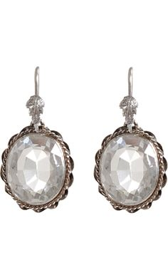 Olivia Collings Antique Jewelry Rock Crystal Oval Earrings