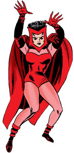 Scarlet Witch - Marvel Comics - Avengers - Early years. The new lead for the bio at http://www.writeups.org/fiche.php?id=3942 . Not as good as I'd like, but finding good shots of early Wanda is hard.