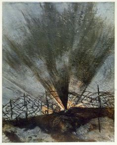 Bursting Shell, from British Artists at the Front, Continuation of The Western Front, 1918 Posters & Art Prints by Christopher Richard Wynne...