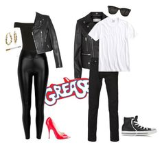 """""""Halloween Couples' Costumes: Sandy and Danny"""" by infinitygirl ❤ liked on Polyvore featuring Miss Selfridge, River Island, Yves Saint Laurent, Brian Atwood, Lucky Brand, Converse and Blue Nile"""