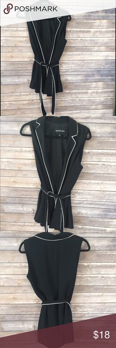 """Who What Wear Pajama Vest Great Condition with minimal wear throughout. No Flaws! Black Vest with white trim and belt tie. 27"""" length from shoulder to hem, 17"""" with stretch from underarm to underarm. Looks so cute with Black Pants or distressed jeans and a white button down and heels. 100% Polyester Who What Wear Jackets & Coats Vests"""