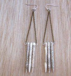 Howlite Turquoise Spikes Long Chain Earrings