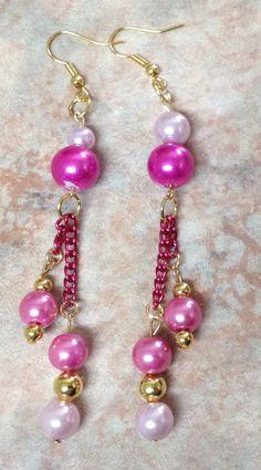 Perlas colgantes (rosas y doradas)