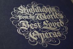 Beautiful Ornamental Blackletter {love the swashes} // Boxset of Classic Operas on Tape (1978)