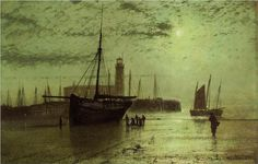 """Trademark Art """"The Lighthouse at Scarborough"""" by John Atkinson Grimshaw Painting Print on Wrapped Canvas Artist Canvas, Canvas Art, Canvas Prints, Canvas Size, Painting Frames, Painting Prints, Art Prints, Leeds, Pierre Auguste Renoir"""
