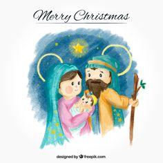 Fondo de acuarela con adorable nacimiento del niño jesús Vector Gratis