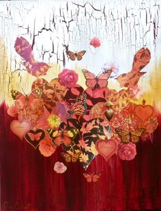 Fantail Rouge, Mixed Media on Canvas Tangle Art, Mixed Media Canvas, Tangled, Collage, Butterfly, Painting, Artists, Red, Collages