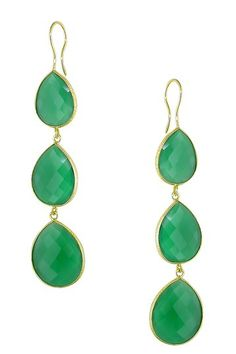 Green Onyx Triple Teardrop Earrings by Color of the Month on @HauteLook