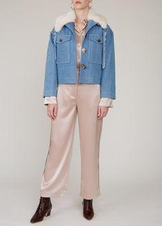 World Of Fashion, Fashion Brand, Rejina Pyo, Retro Shirts, Faux Fur Collar, Contemporary Fashion, Blue Denim, Duster Coat, Dressing