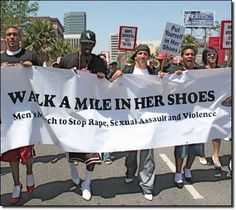 Men march in heals to stop rape, sexual abuse, and violence