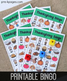 Printable Thanksgiving Bingo in color and black and white. Perfect for preschool, pre-k, and kindergarten. Have fun playing at home or in the classroom!